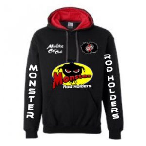 Monster Hoodie Hoodie with Contrast Color Lining black red 1 1 300x300